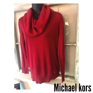 Michael Kors metallic cowl neck sweater.
